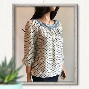 LOFT Blouse Silk Blend 3/4 Sleeve Ikat Print Sz XS